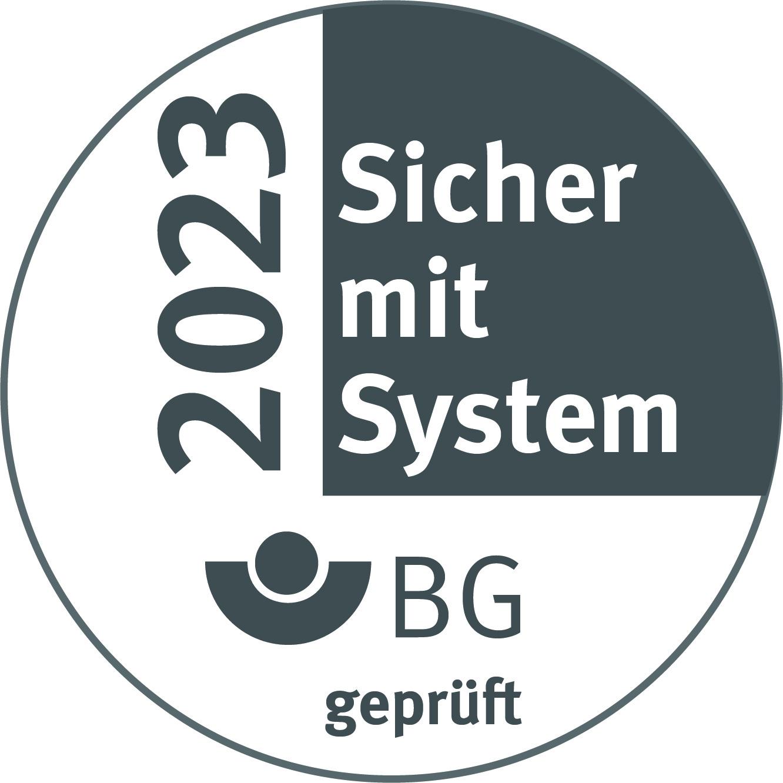 """Logo Gütesiegel """"Sicher mit System"""" 2023"""